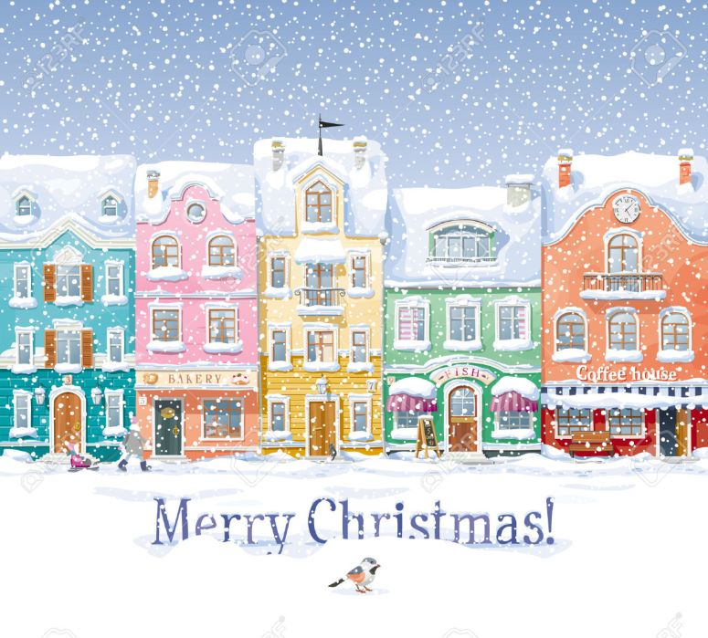 32608933-Old-historical-houses-shops-and-cafe-at-the-snow-covered-city-street-under-snowfall-Stock-Vector