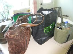 The haul. Everyone says the brown tote is too pretty to use as a grocery bag. My sister-in-law Tanya brought it back from China. But why not, I say, have a beautiful grocery bag?